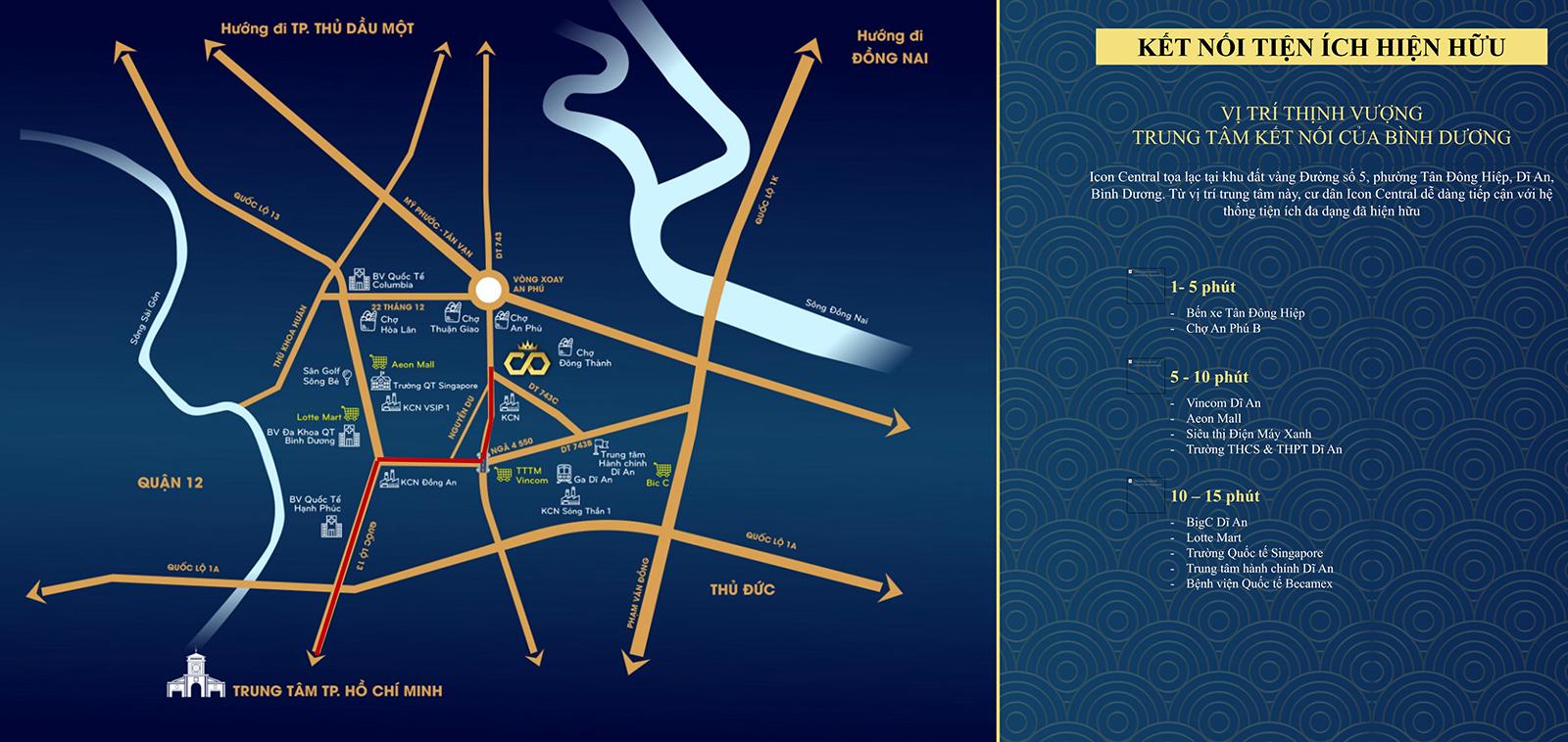 kết nối tiện ích Icon Central - Hoàng Gia Sài Gòn